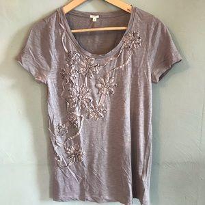 J. Crew embellished flower Ribbon t shirt